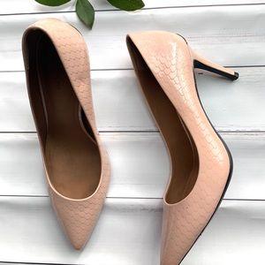 Calvin Klein blush snakeskin stiletto heels size 8